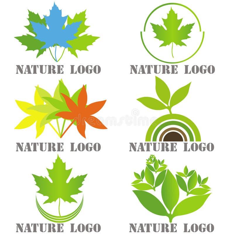 Reeks van zes emblemen voor aard verwante bedrijven vector illustratie