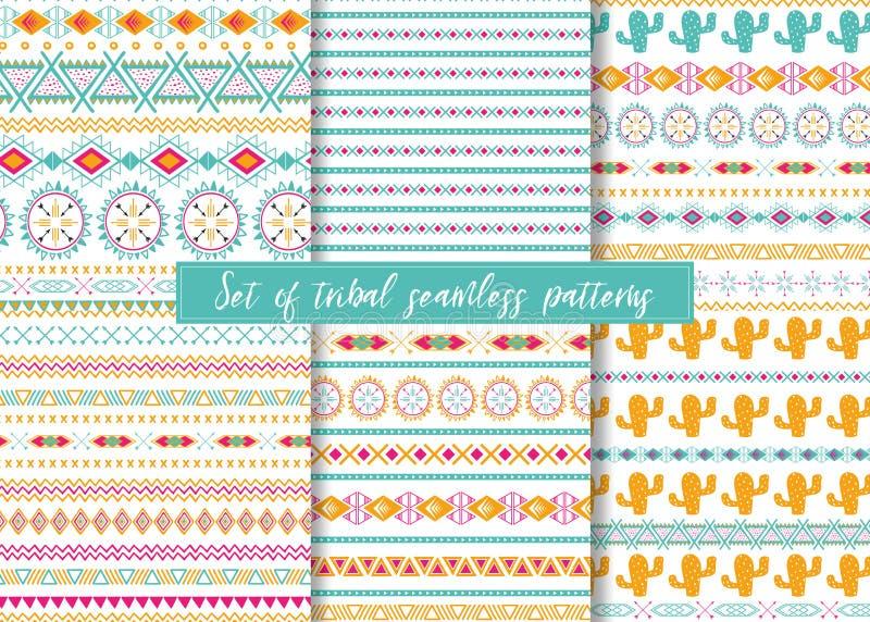 Reeks van zes etnische naadloze patronen Azteekse geometrische achtergronden Het modieuze ontwerp van Navajo vector illustratie
