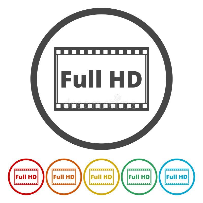 Reeks van zes geïsoleerde vlakke kleurrijke knopen voor VOLLEDIG HD-teken vector illustratie