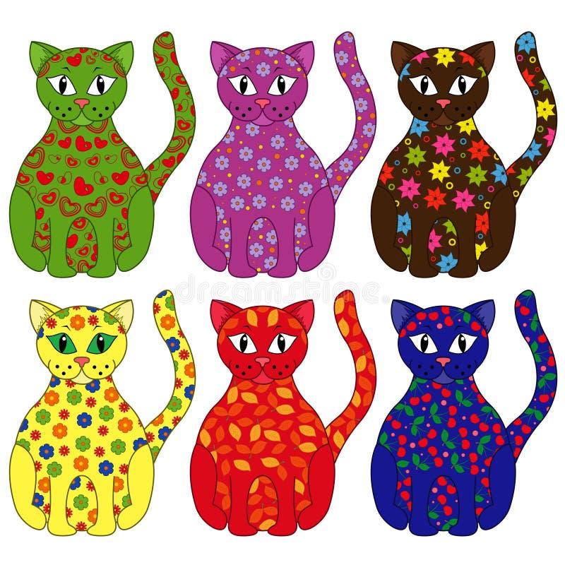 Reeks van zes gestileerde katten royalty-vrije illustratie