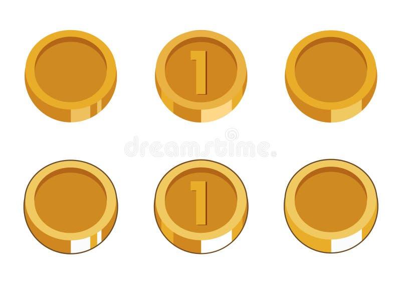 Reeks van zes gouden muntstukken royalty-vrije stock afbeeldingen
