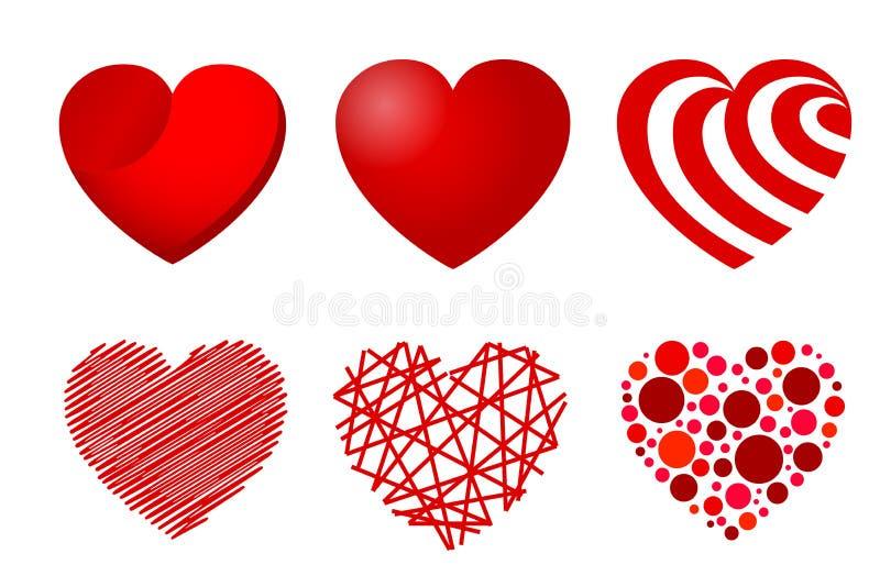 Reeks van zes harten - vectorillustratie royalty-vrije illustratie
