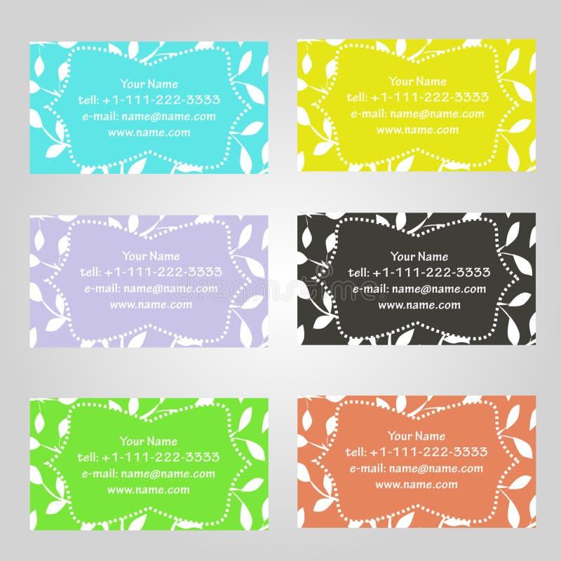 Reeks van zes horizontale adreskaartjes in verschillende kleuren Uitstekend patroon met bladeren Nageleefd de standaardgrootte vector illustratie