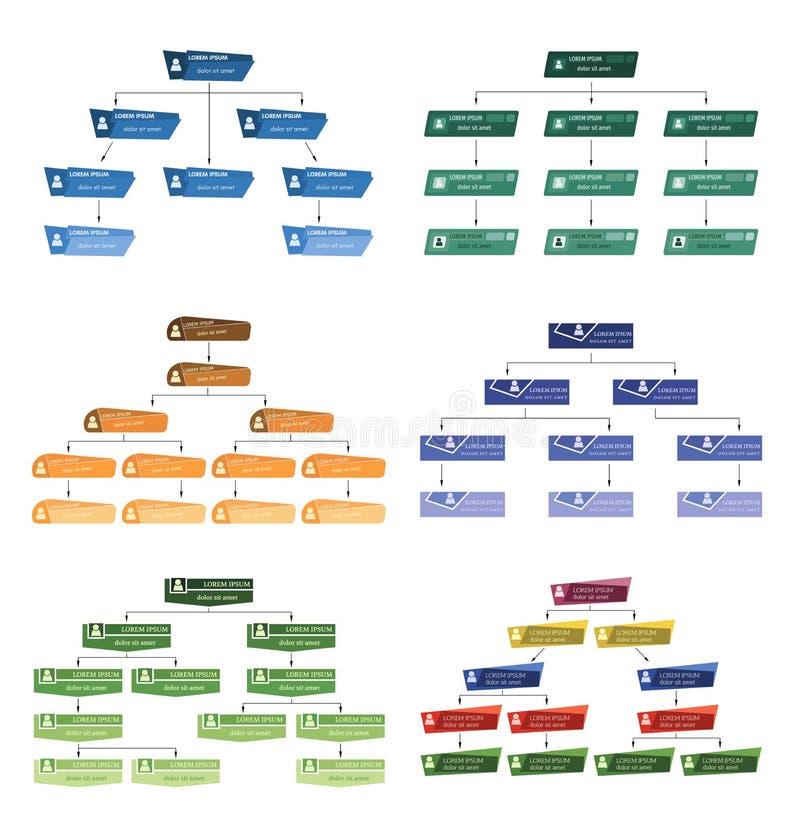 Reeks van zes kleurrijk bedrijfsstructuurconcept stock illustratie