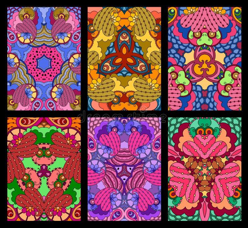 Reeks van zes kleurrijke decoratieve groetkaarten op zwarte backgroun royalty-vrije illustratie