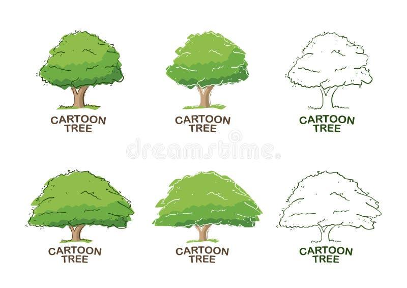 Reeks van Zes malplaatjes voor embleemontwerp met bomen schets royalty-vrije illustratie