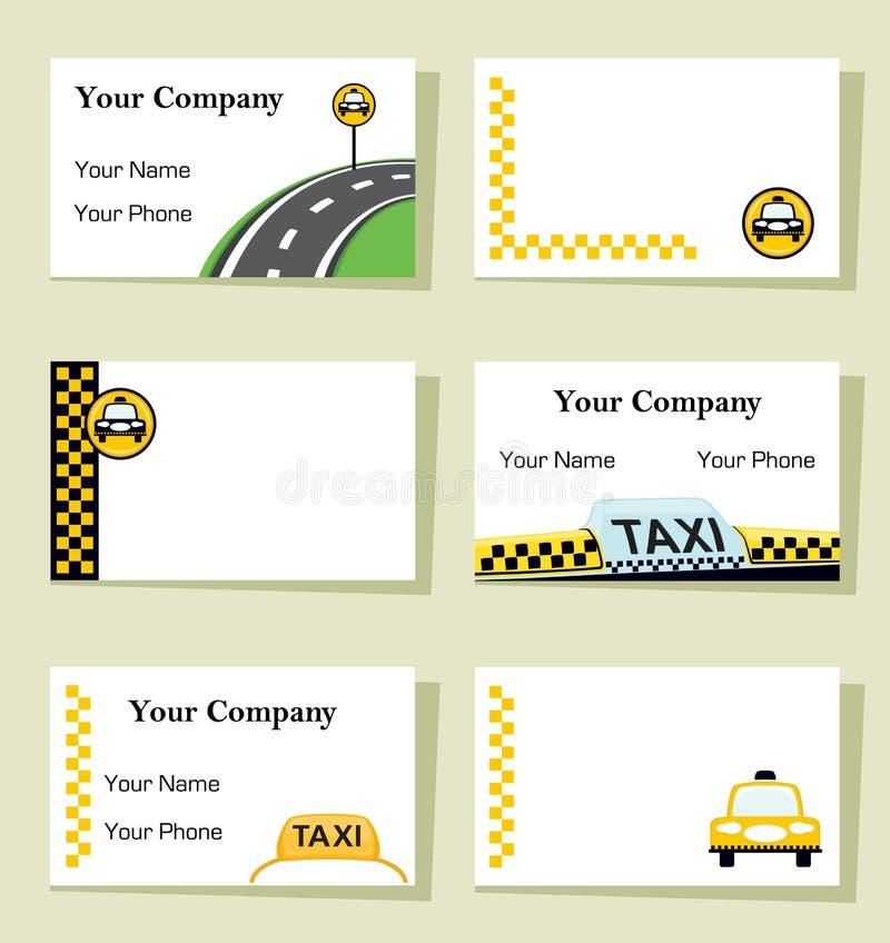 Reeks van zes taxiadreskaartjes stock illustratie