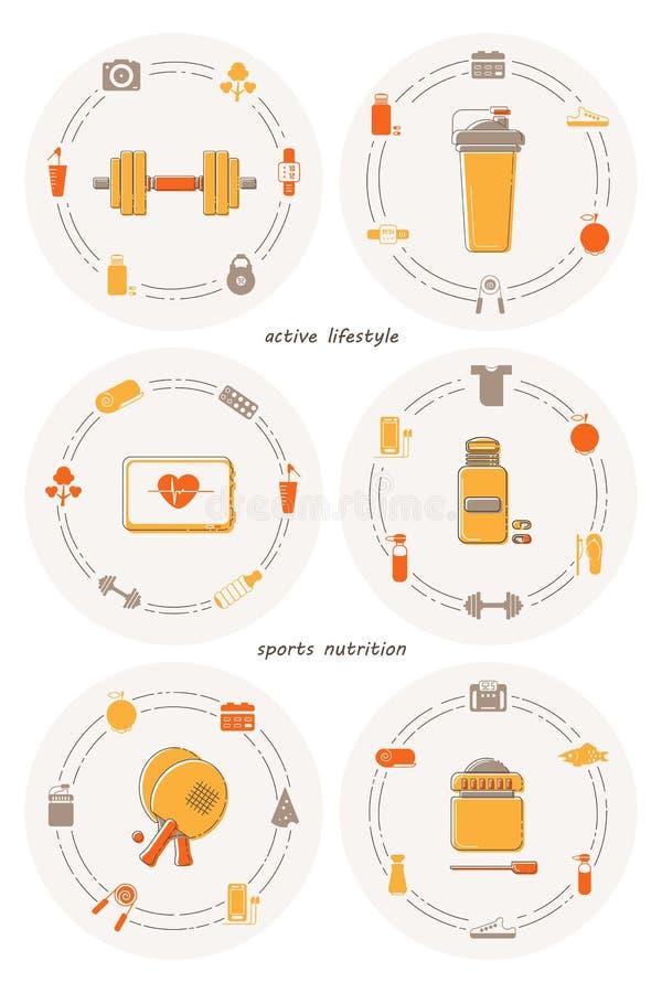 Reeks van zes vlakke pictogrammen op het thema van gezonde levensstijl, fitness en sportenvoeding stock illustratie