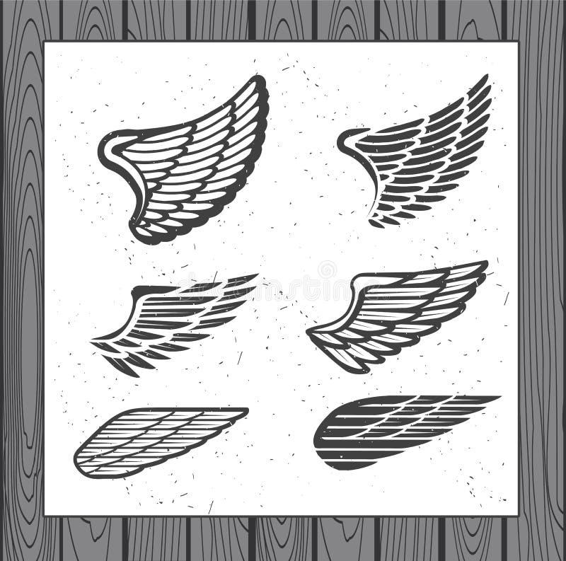 Reeks van Zes Vleugels royalty-vrije illustratie