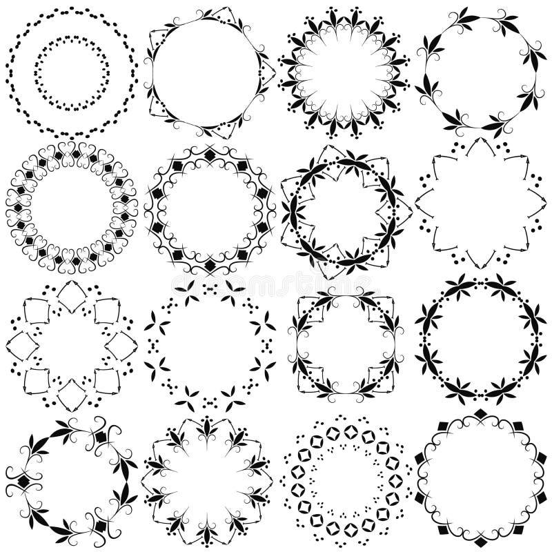 Reeks van zestien ronde kaders Stammen patroon royalty-vrije illustratie