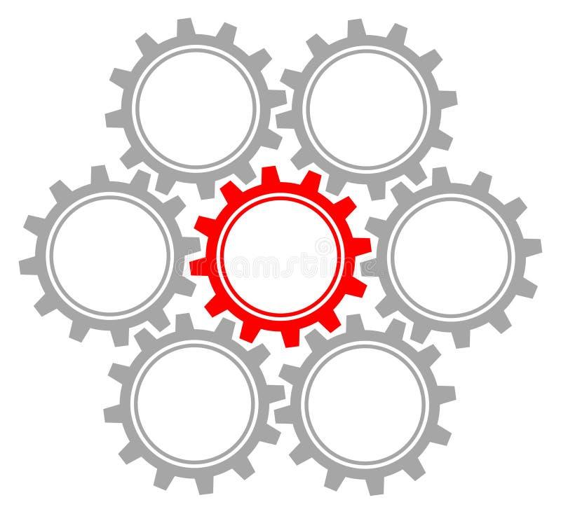 Reeks van Zeven Grafische Toestellen Gray And Red vector illustratie