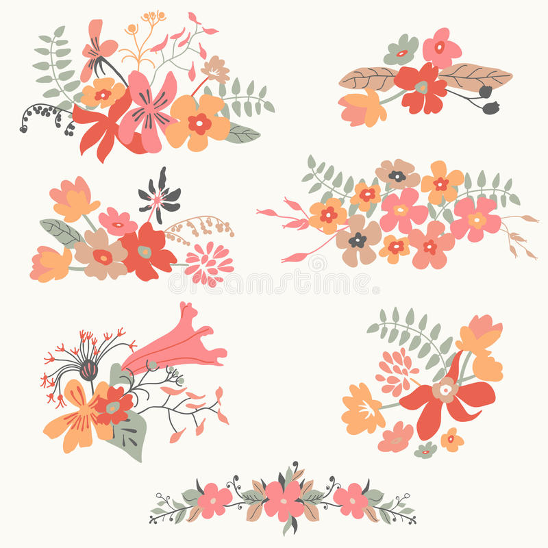 Reeks van zeven leuke bloemenboeketten royalty-vrije illustratie