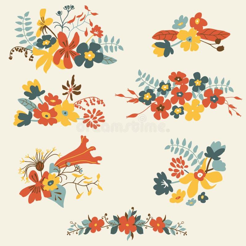 Reeks van zeven leuke bloemenboeketten vector illustratie