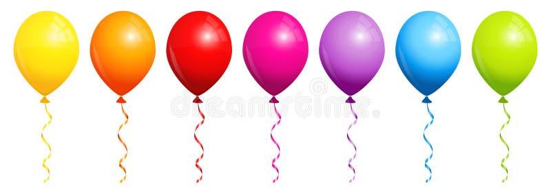 Reeks van Zeven Regenboogballons stock afbeeldingen