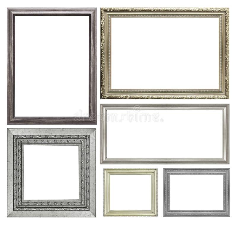 Reeks van zilveren die omlijsting op witte achtergrond wordt geïsoleerd stock foto