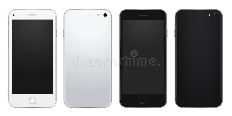 Reeks van zilveren en zwart mobiel telefoonmalplaatje met de lege schermen stock illustratie