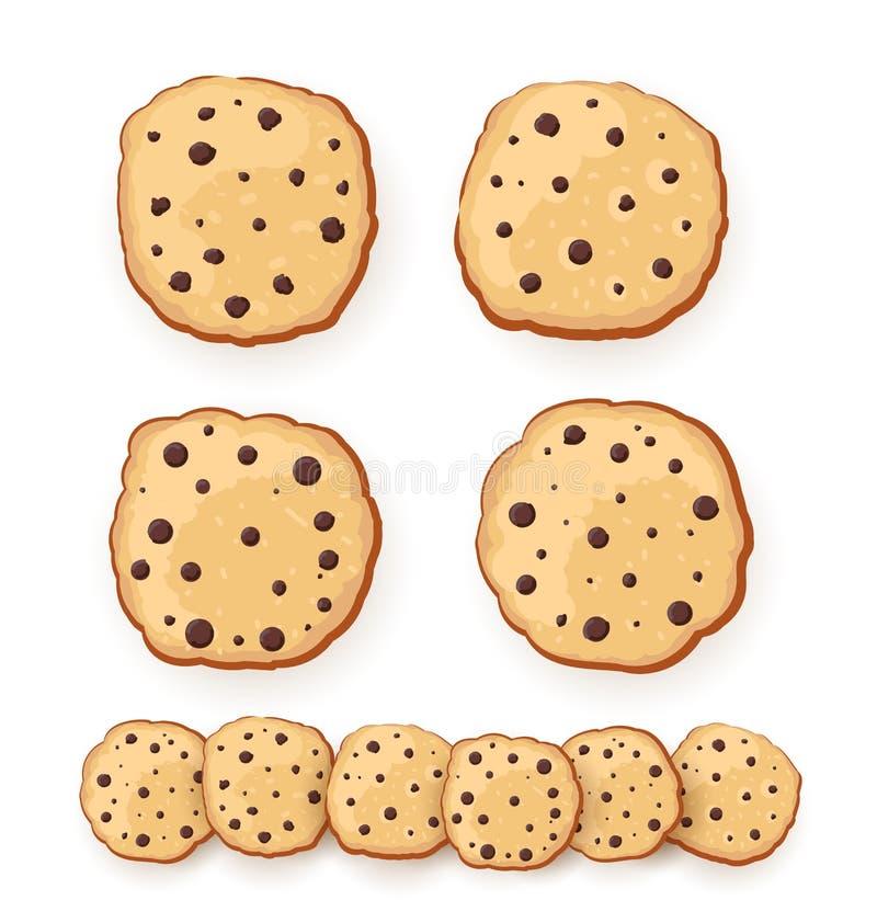Reeks van Zoete koekjesillustratie Havermeelkoekjes met chocolade van diverse vorm Vector illustratie Geïsoleerd op witte backgro stock illustratie