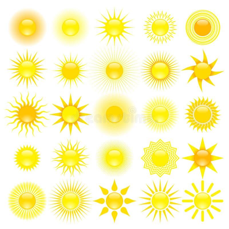Reeks van zon vector illustratie