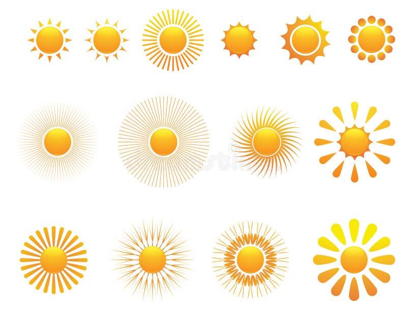 Reeks van zon. Vector.