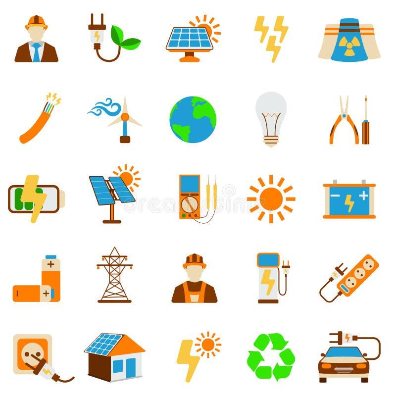 Reeks van Zonne-energiepictogram 25 energieetiket voor Web op witte backg royalty-vrije illustratie