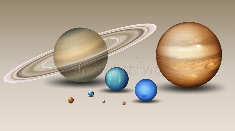 Reeks van zonnestelselelement royalty-vrije illustratie