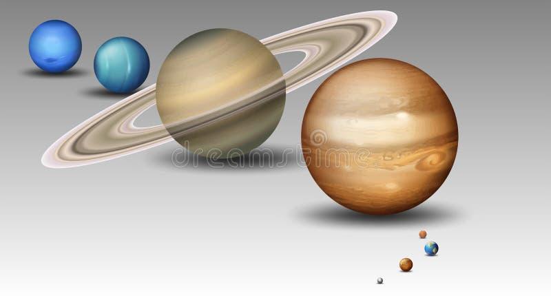 Reeks van zonnestelselplaneet stock illustratie