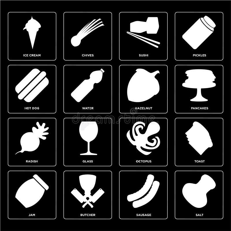 Reeks van Zout, Worst, Jam, Octopus, Radijs, Hazelnoot, Hotdog, S stock illustratie