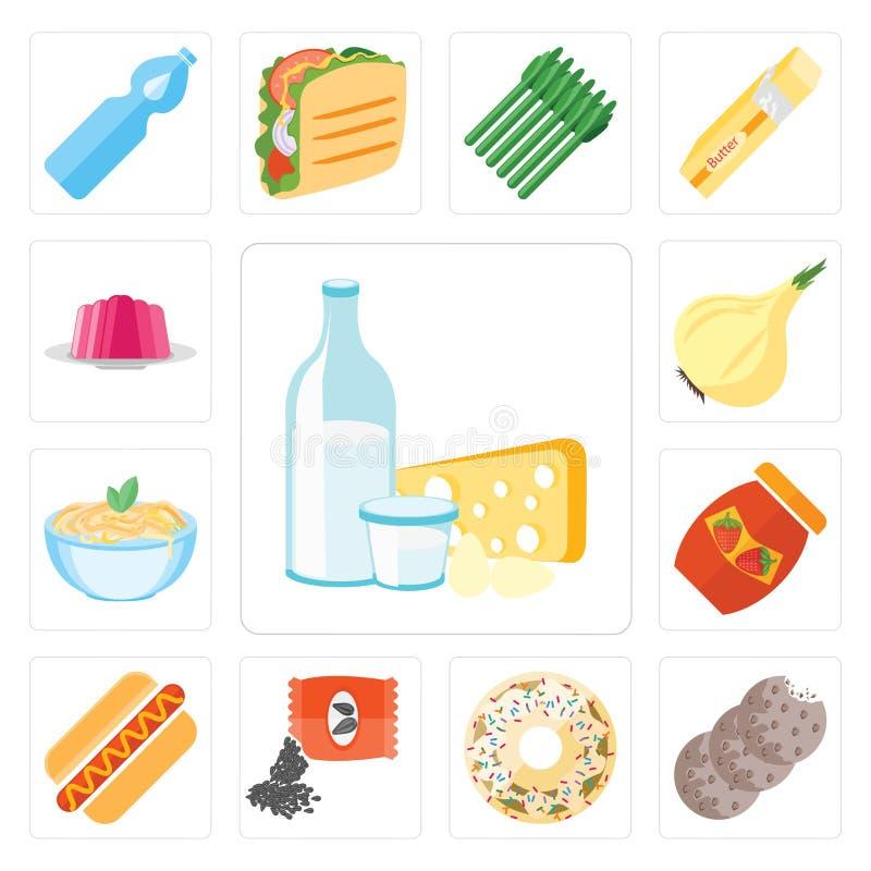 Reeks van Zuivelfabriek, Koekjes, Doughnut, Zaden, Hotdog, Jam, Deegwaren, Oni stock illustratie