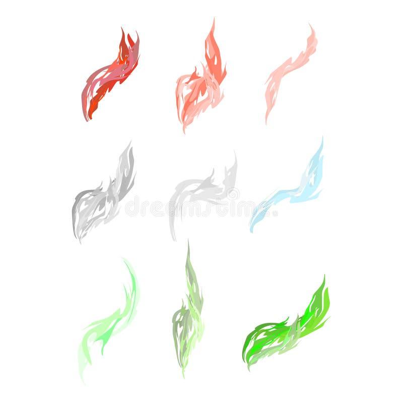Reeks van zure dampen en rook Roze en groene rook Vectorillust vector illustratie