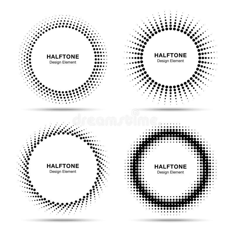 Reeks van Zwart Abstract Halftone Cirkelsembleem vector illustratie