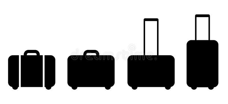 Reeks van zwart kofferpictogram stock illustratie
