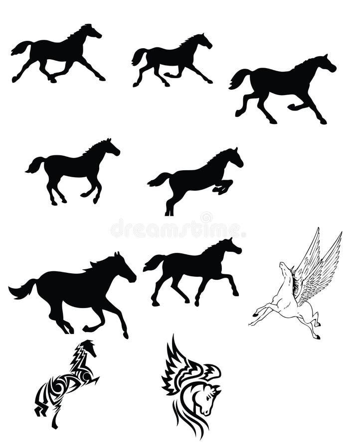 Reeks Van Zwart Paard Stock Afbeeldingen