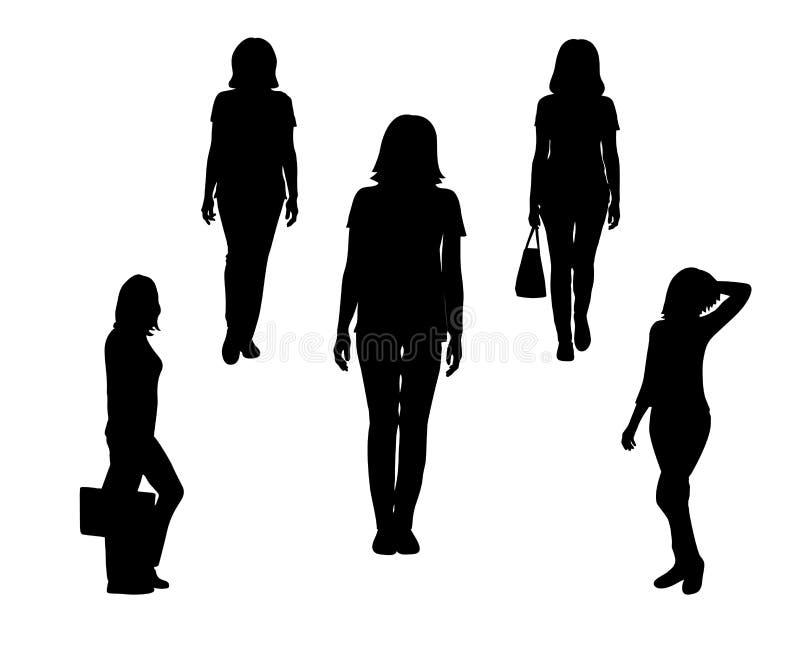 Reeks van zwart silhouet van bevindende vrouw, met zak op witte achtergrond royalty-vrije illustratie