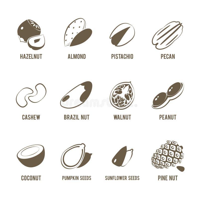 Reeks van zwart-wit, lineart voedselpictogrammen: noten royalty-vrije illustratie