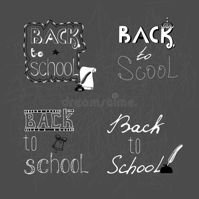 Reeks van zwart-wit met de hand geschreven inschrijving 4 terug naar school vector illustratie