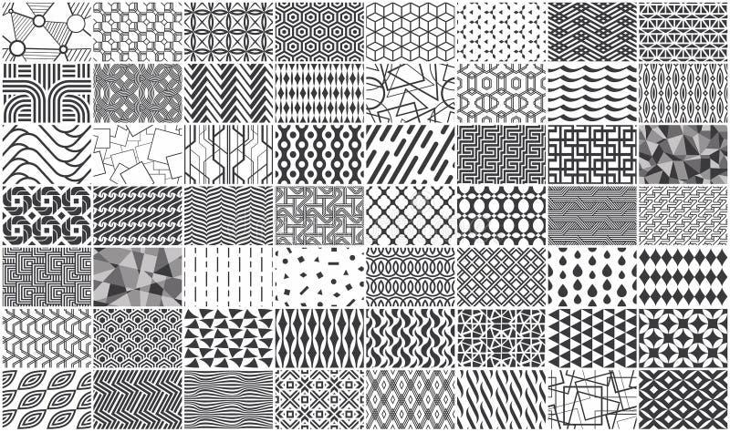 Reeks van zwart-wit naadloos geometrisch patroon royalty-vrije illustratie