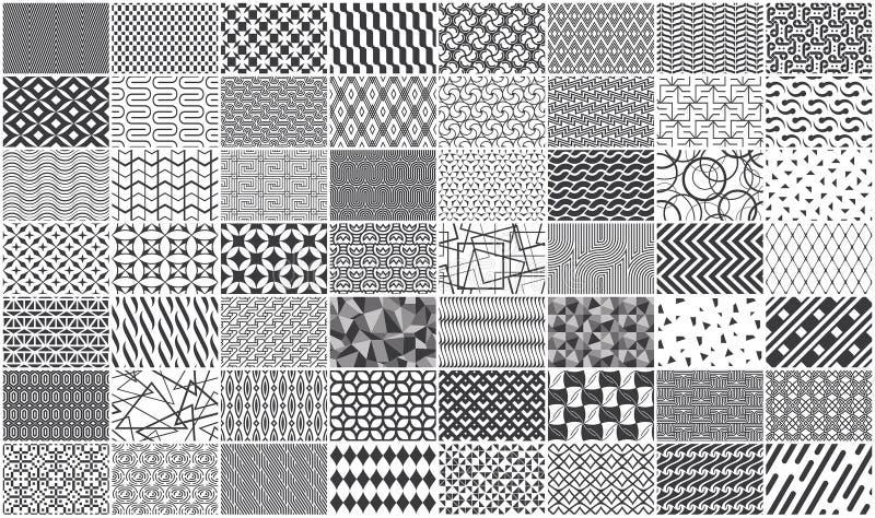 Reeks van zwart-wit naadloos geometrisch patroon royalty-vrije stock afbeelding