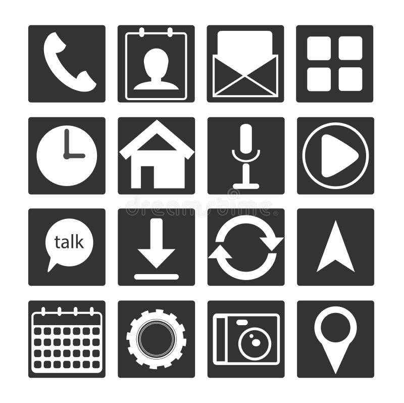 reeks van 16 zwart wit vlak mobiel app pictogram Het teken van de overzichtsknoop voor Webontwikkeling, androïde en mo stock illustratie