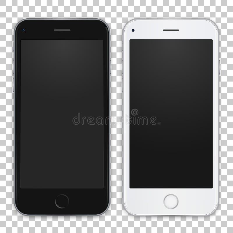 Reeks van zwart-witte slimme telefoon om uw app, ontwerp voor te stellen Vector illustratie royalty-vrije illustratie