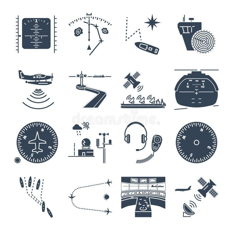 Reeks van zwarte van de pictogrammen overzeese en lucht navigatie, materiaal, apparaten stock illustratie