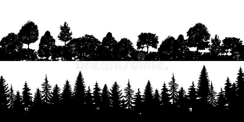 Reeks van zwarte horizontale silhouetten naaldtreetops bospijnboom, sparren, ceder Naald net panorama Park van royalty-vrije illustratie