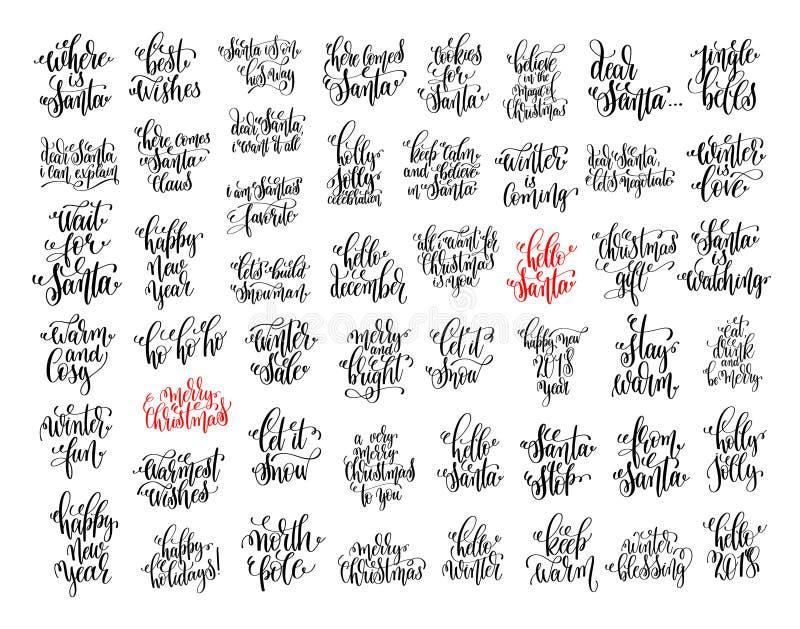 Reeks van 50 zwarte inktkerstmis en gelukkig nieuw HOL van de jaarviering royalty-vrije illustratie