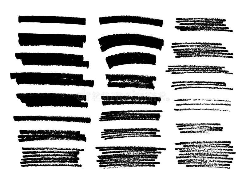 Reeks van zwarte verf, de slagen van de inktborstel, borstels, lijnen Vuil art. vector illustratie