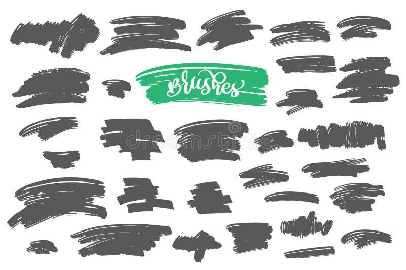 Reeks van zwarte verf, de slagen van de inktborstel, borstels, lijnen Vuile artistieke ontwerpelementen royalty-vrije illustratie