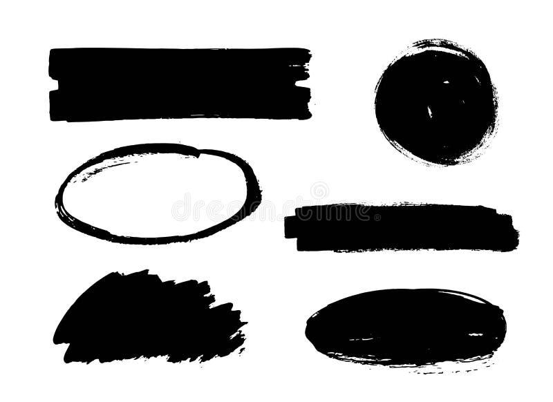 Reeks van zwarte verf, de slagen van de inktborstel, cirkels, ovalen Vuile artistieke ontwerpelementen, dozen, kaders, achtergron royalty-vrije illustratie