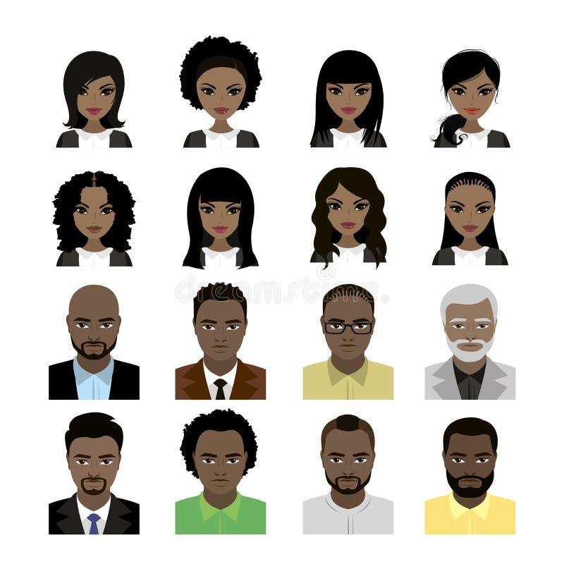 Reeks van Zwarten en mensenavatar vector illustratie