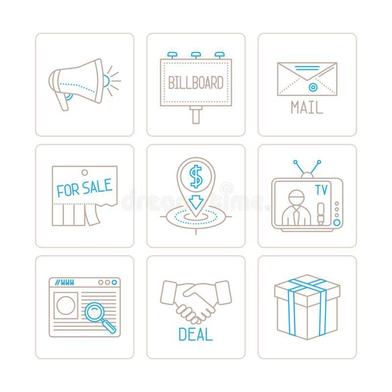 Reeks vector bedrijfs of marketing pictogrammen en concepten in mono dunne lijnstijl stock illustratie