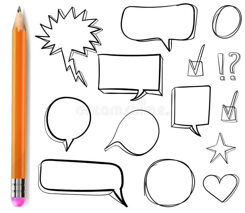 Reeks VECTOR 3d getrokken pictogrammen: vinkje, ster, hart, toespraakbellen, overzichtstekeningen met potlood vector illustratie