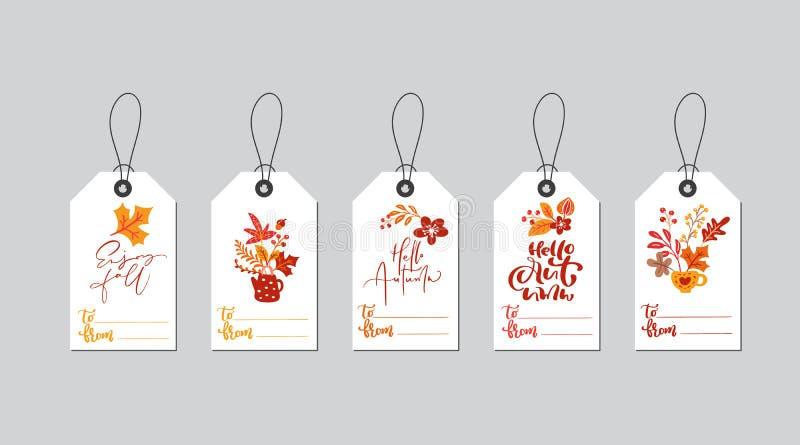 Reeks vector de doosmarkeringen van de de herfstgift met dalingskalligrafie Hand getrokken krabbel vectorillustratie voor Dankzeg royalty-vrije illustratie