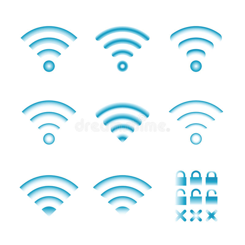 Reeks vector draadloze pictogrammen voor de toegang en de radioverbinding van de wifiafstandsbediening vector illustratie